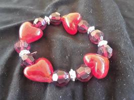 STUNNING VINTAGE ESTATE RED HEART BEADS STRETCH BRACELET - $3.00