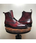 New Men's Handmade Burgundy Lace Up Ankle high Cap Toe casual Leather Boots - $159.99+