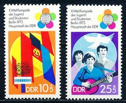 1973 World Youth Festival Set of 2 Germany DDR Stamps Catalog B170-71 MNH