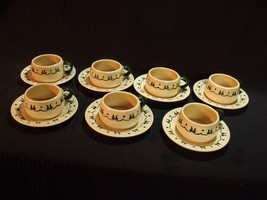 (7) METLOX POPPY TRAIL 1950'S HOMESTEAD CUPS AND SAUCERS NOS - $59.40