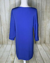 Diane von Furstenberg Silk Iliana Shift Dress Blue Embellished Neckline 2 Blue image 4