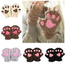 Winter Lovely Women Bear Cat Claw Paw Mitten Plush Gloves Short Finger F... - $5.57