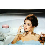 BRIGITTE BARDOT 8X10 PHOTO ON OLD TELEPHONE IN BATH TUB HOLDING PERFUME - $9.75