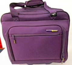 Delsey Rolling Laptop Bag Dark Purple Carry On Luggage Long Extendable H... - $34.99