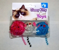 North American Pet Classy Kitty Cat Toy 3 Fluffy Mice Red, White and Blue NIP