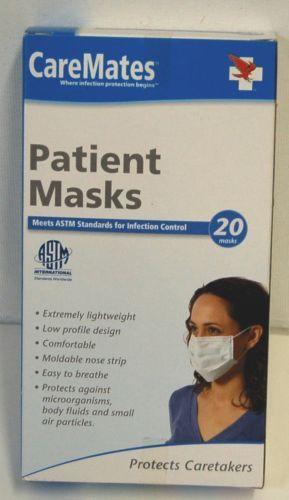 CareMates Patient Face Masks Ear Loop 20 Count One Size