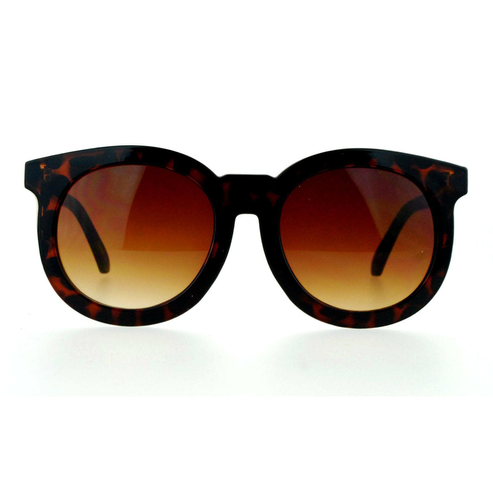Womens Fashion Sunglasses Oversized Round Horn Rim Arrow Design