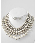 Gorgeous mother of the bride ivory pearl necklace set wedding prom eveni... - $21.00