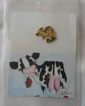 Cow Pin by Lisa Rasmussen 1988  a pin with card drawing of cow by L.R. - $7.77