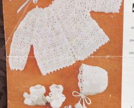 Vintage Emu Crochet Crocheting Patterns BABY COAT BONNET BOOTEES - $3.95