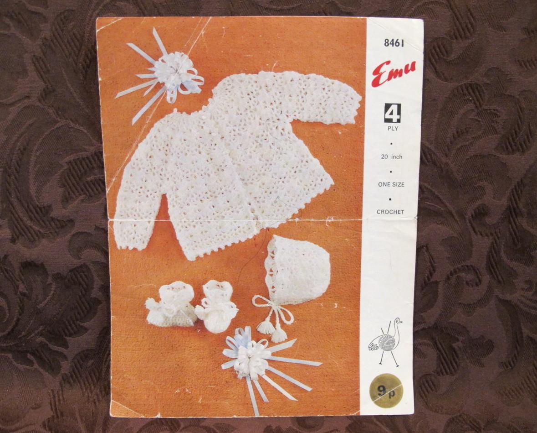 Vintage Emu Crochet Crocheting Patterns BABY COAT BONNET BOOTEES