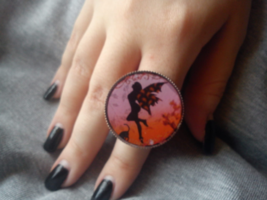 Fairy in pink sky ring. Fairy's wings. Twilight. dance with the faeries - $22.22