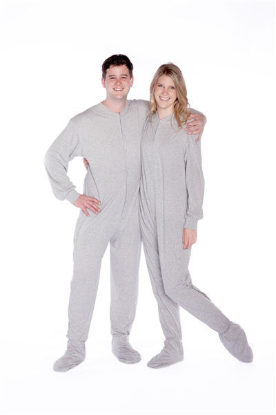 5b95c7e6e7 S l1600. S l1600. Previous. Big Feet Pajama Co. Gray Jersey Knit Adult Footie  Footed Pajamas Onesie