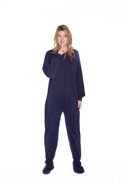 7d033baa0065 ... Big Feet PJs Navy Cotton Jersey Adult Onesie Footed Pajamas w  Drop  Seat ...
