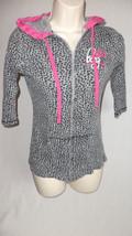 Billabong Zip Hoodie Girls L Gray Floral Pink Kangaroo Pocket Ribbed - $11.57