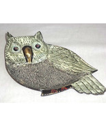 Owl Metal Art Hand Painted Brass Trinket Tray Plate Jewelry Rings India Unique - $16.72