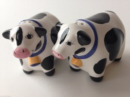 Salt & Pepper Shakers Handcrafted Ceramic COWS ... - $9.89