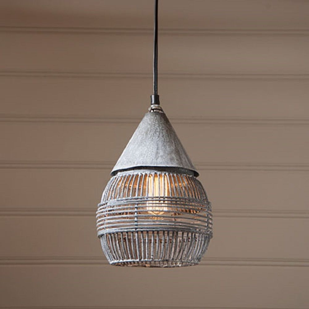 Retro Cage Pendant Hanging Industrial Farmhouse Light in Weathered Zinc C