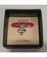 My Mom is my SuperHero Bracelet Charm, Beaded jewelry stretch  - $10.88