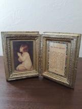 Vintage Gold White Gilt Florentine Lord's Prayer Wood Book Diptych - $24.75