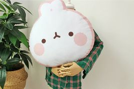 Molang Face Cushion Stuffed Animal Rabbit Plush Toy Pillow 17.7 inches image 4