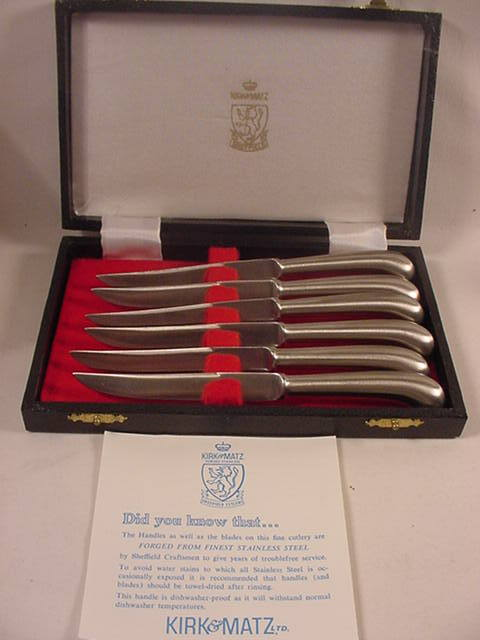 Primary image for Set of 6 Kirk & Matz Stainless Steel Fruit Knives in Case Pistol Grip Handles