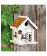 Happy Home Birdhouse White Window Boxes Flowers Garden Yard Decor 9 In.T... - $23.86