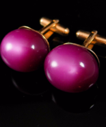 Cranberry Moonglow Cufflinks Vintage Plum color Gold statement Jewelry a... - $125.00