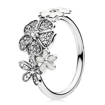 925 Sterling Silver Shimmering Bouquet Ring with Clear Zirconia For Women QJCB86 - $22.99
