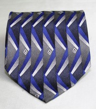 Louis Roth 100% Silk Men's Necktie Tie Geometric Design Silver Blue Black - €9,63 EUR