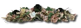 Candle Holder Shabby Chic Table Top Pink Cabbage Roses Candlesticks Taper - $24.74