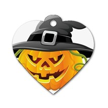 Custom Personalized Heart Dog Name Id Tag Halloween Pumpkins Bats Moon D... - $11.99