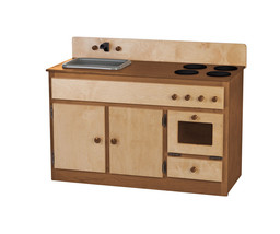 Kitchen Sink Stove & Oven ~ Natural Walnut Amish Handmade Wood Play Furniture - $376.17