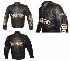 NORTON Motorcycle Racing Leather Jacket with Approved Protections XS to 6XL - $159.00