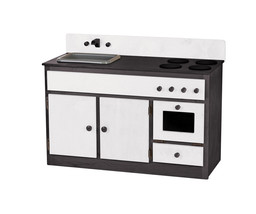 Kitchen Sink Stove & Oven ~ Black & White Amish Handmade Wood Play Furniture Usa - $376.17