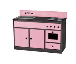 Kitchen Sink Stove & Oven ~ Pink & Black Amish Handmade Wood Toy Furniture Usa - $376.17
