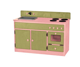 Kitchen Sink Stove & Oven ~ Green & Pink Amish Handmade Wood Play Furniture Usa - $376.17