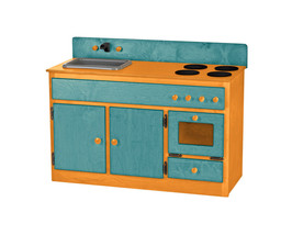 Kitchen Sink Stove & Oven ~Turquoise & Orange Amish Handmade Wood Play Furniture - $376.17