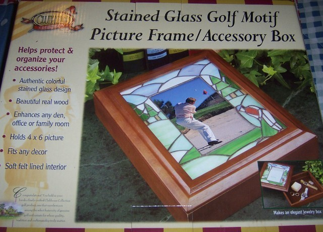 Stained Glass Golf Picture Frame Accessory Box Fathers Day Wooden Golfer NEW