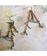 Vintage Earrings, Turquoise Beaded Dangles, Gif... - $10.00
