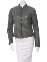 Coach F82389 Women's Kra Leather Racer Jacket Slate   Xs/S/M   Nwt   Retail $995 - $229.00