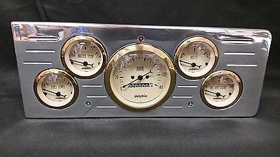 1938 1939 Ford Car 3 3//8 Quad Style GPS Gauge Dash Cluster Panel White