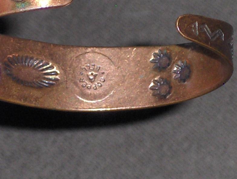 Vintage Copper Navajo Peyote Birds Cuff Bracelet