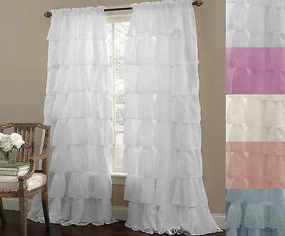 "Primary image for Gypsy Crushed Voile Cascading Layer 60"" x 84"" Window Curtain Panel 5 Colors"