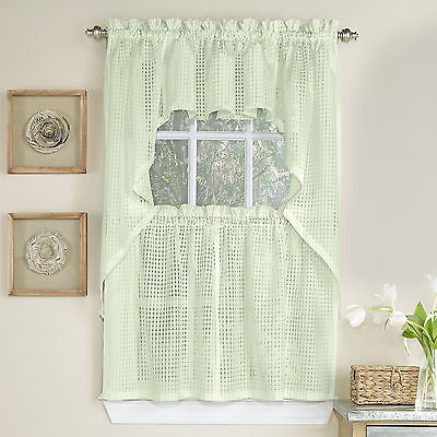 Primary image for Micro-Check 2 Tone Cream Semi-Sheer Window Curtain Tiers, Valance, or Swag