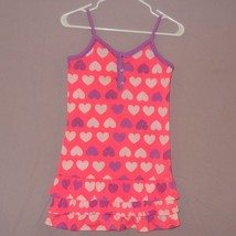 Pink Purple Hearts Ruffles Sleeveless Nightgown Girl's Size 12 Justice - Stained - $11.56