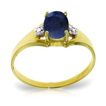 Genuine Sapphire Diamond Ring Yellow Solid Gold Blue Gemstone 14K 1.25 tcw - £118.10 GBP