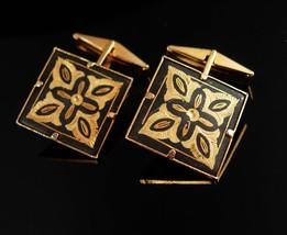 Vintage Black Damascene Cufflinks Gold Spanish Revival Wedding groom gift jewelr - $75.00