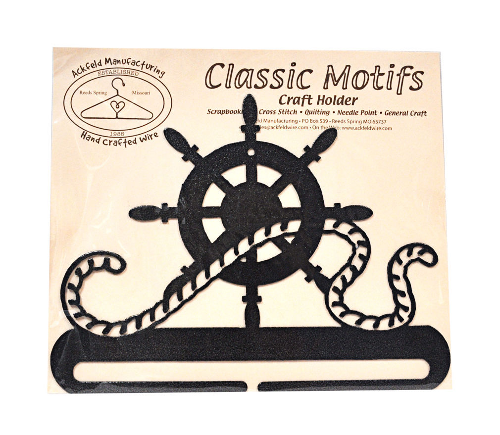 Classic Motifs Ships Wheel 8 Inch Charcoal Split Bottom Craft Holder