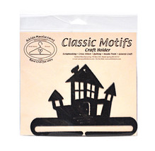 Classic Motifs Haunted House 6 Inch Charcoal Split Bottom Craft Holder - $14.75